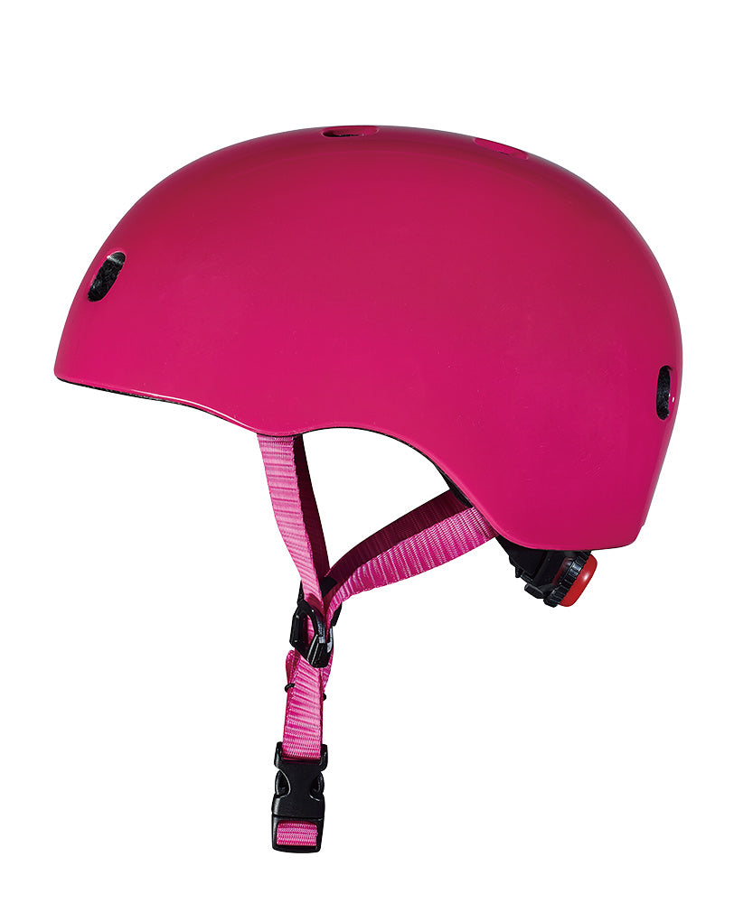 micro scooter plain coloured raspberry helmet side view