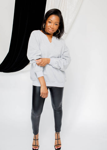 A-The Brand NIA Oversized Notched Sweatshirt