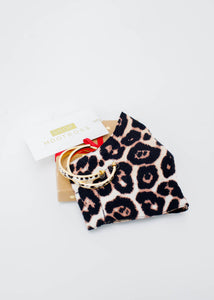 A-Faux Fur White Leopard Earrings & Leopard Mask Gift Set