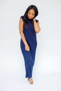 A-Cindy Navy Knit Maxi Dress