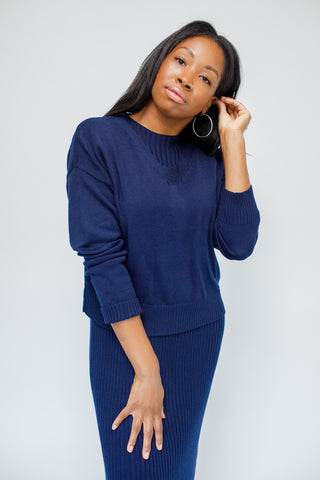 A-Carry Anne Navy Sweater