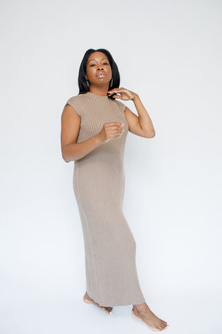 A-Cindy Mocha Knit Maxi Dress