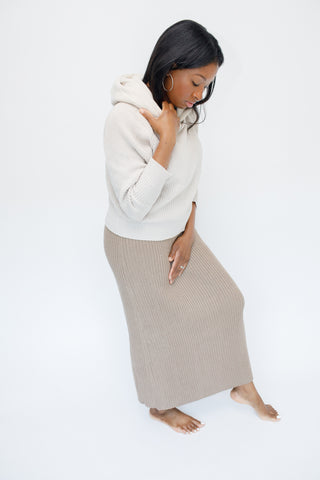 A- Helga Hooded Taupe Knit Sweater