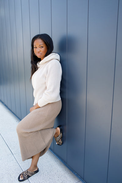 B- Helga Hooded Taupe Knit Sweater