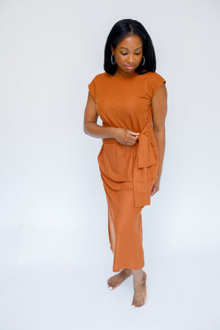 A- Taryn Tie Dress in Rust