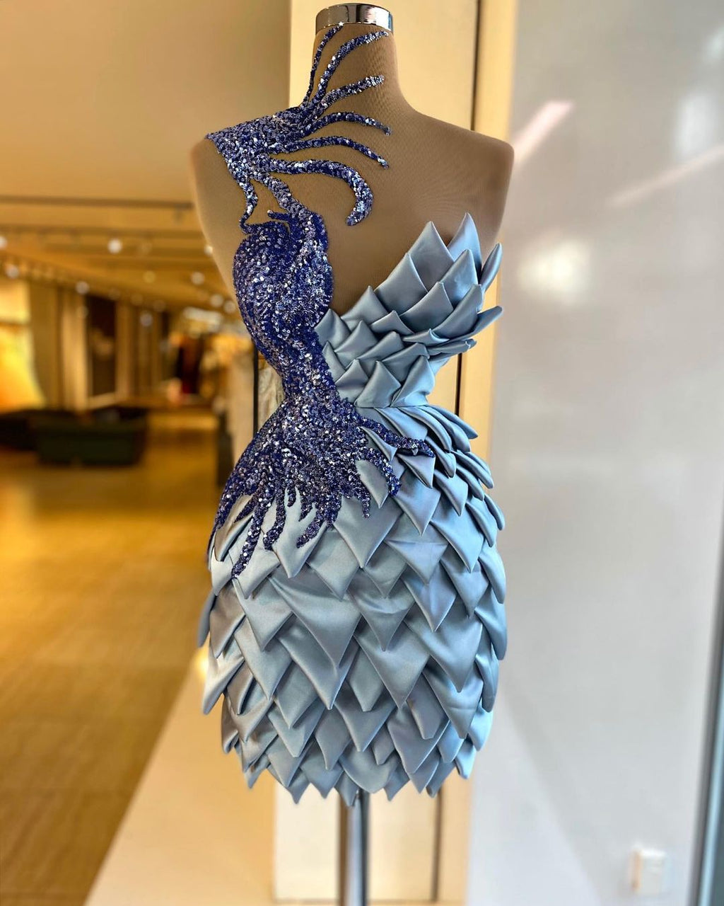 Blue Mermaid Short Dress