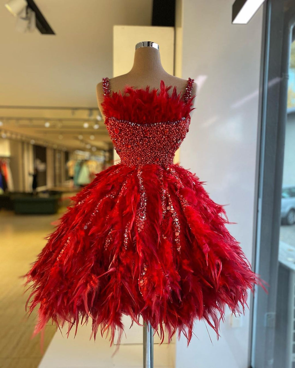 Feather Red Dress