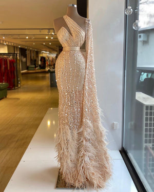 Nude Shiny Feather Dress