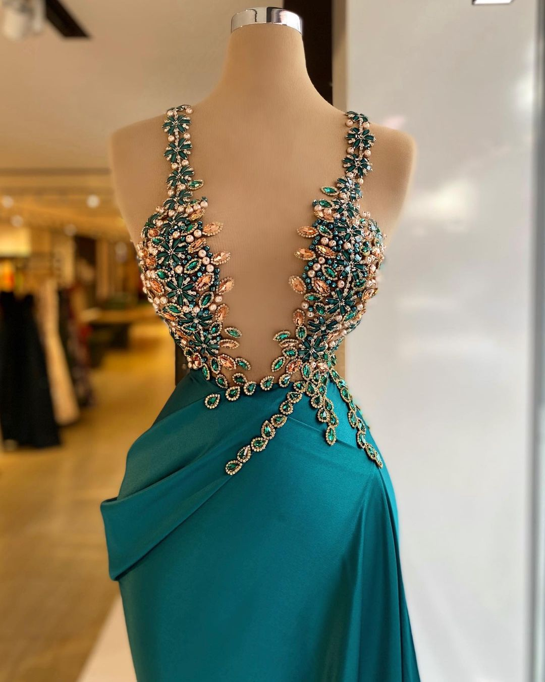 Dark Turquoise Beaded Satin Dress