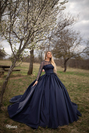 Navy satin ballgown