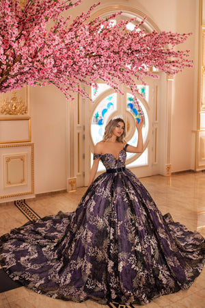 Floral purple gown
