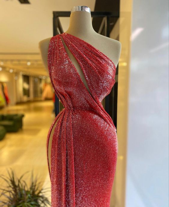 Red Shinny Stones Dress
