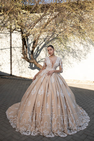 Brown Wedding Dress with white handmade tulle
