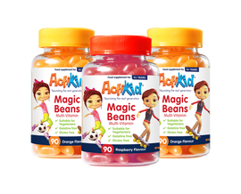 2x ActiKid® Magic Beans Multi-Vitamin Orange Flavour 90s, 1x ActiKid® Magic Beans Multi-Vitamin Raspberry 90s