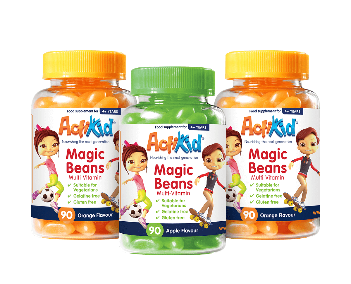 2x Magic Beans Multi-Vitamin Orange Flavour 90s, 1x Magic Beans Multi-Vitamin Apple 90s