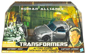Transformers 8 Inch Action Figure Human Alliance (2010 Wave 1) - AUTOBOT JAZZ w/ motorcycle and Capt. Lennox