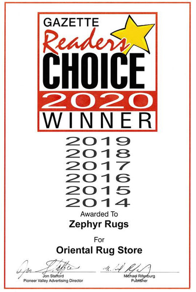 Zephyr Rugs Voted Best Rug Store by Hampshire Gazette Reader's Choice 7 Years in a Row