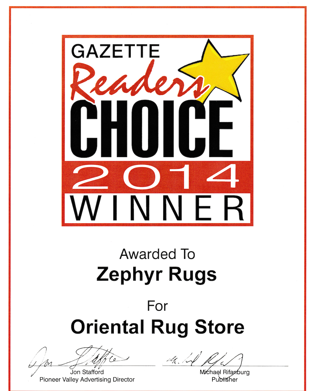 Zephyr Rugs Voted Best Oriental Rug Store by Hampshire Gazette Reader's Choice 2014
