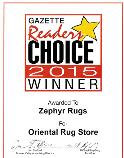 Zephyr Rugs Voted Best Oriental Rug Store by Hampshire Gazette Reader's Choice 2015