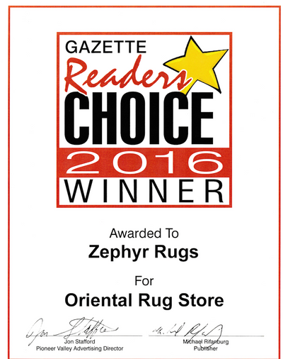 Zephyr Rugs Voted Best Oriental Rug Store by Hampshire Gazette Reader's Choice 2016