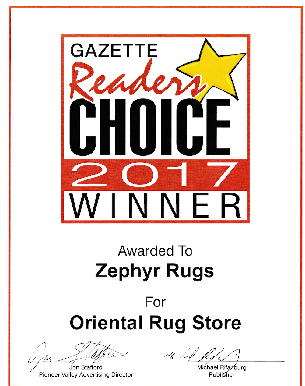 Zephyr Rugs Voted Best Oriental Rug Store by Hampshire Gazette Reader's Choice 2017