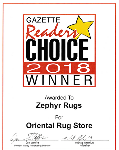 Zephyr Rugs Voted Best Rug Store by Hampshire Gazette Reader's Choice 2018