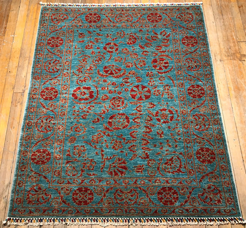 "Natural Dyes / Hand Spun Wool Art & Crafts Rug.  6'.5"" x 5'"