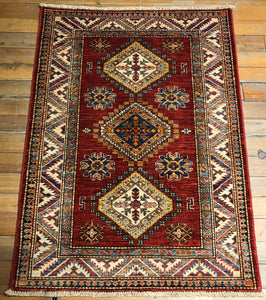 "Natural Dyes / Hand Spun Wool Kuba Rug. 4'.1"" x 2'.11"""