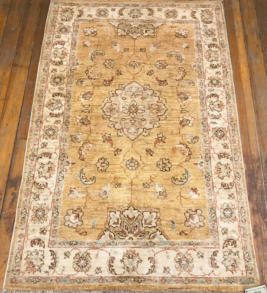 "NATURAL DYES / HAND SPUN WOOL RUG  JOUHAGAN RUG. 4'.9"" x 3'.1"""