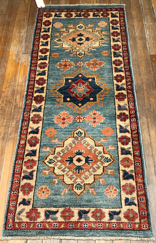 "NATURAL DYES / HAND SPUN WOOL RUG  KUBA  5'.11"" x 2'.4"""