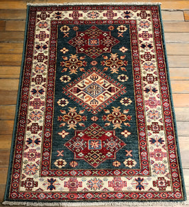 Natural Dyes / Hand Spun Wool Kuba Rug. 4' x 2'.10""