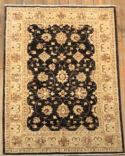 Natural Dyes/Hand Spun Wool Tabriz Rug 5'.1