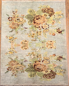 "Natural Dye Fine Aubusson Rug 5'.5"" x 4'"