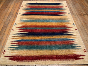 "Natural Dyes/Hand Spun Wool Arts and Crafts Rug 6'.4"" x 4'.6"""