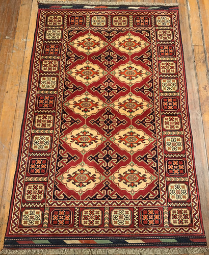 "Tribal Turkaman Rug.  5'3"" x 3'5"""