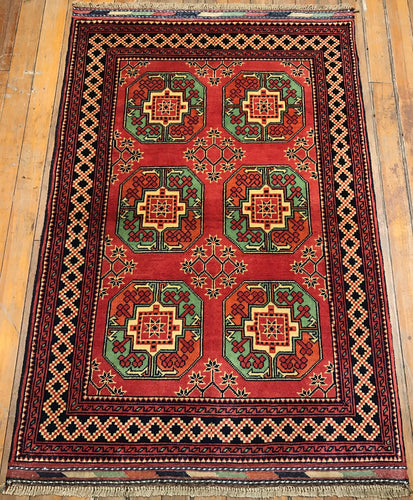 "Tribal Turkaman Rug.  5'1"" x 3'4"""