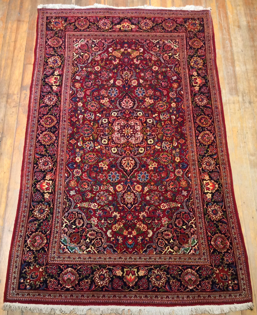 V. Fine Persian Wool & Silk Semi Antique Persian Kashan Rug. 7' x 4'.3