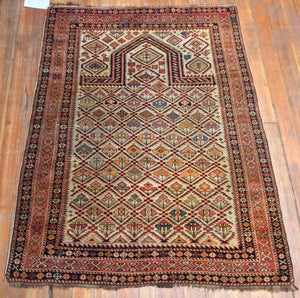 "Antique Dagestan Prayer Rug.  4'.8"" x 3'.4"""