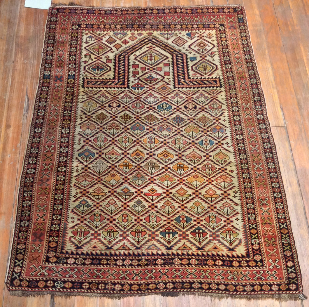 Antique Dagestan Prayer Rug.  4'.8