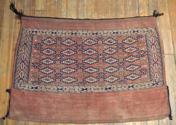 "Rare V. Fine Antique Turkaman horse bag.  3'.8"" x 2'.8"""