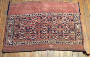 "Rare V. Fine Antique Turkaman Bag.  3'.8"" x 2'.8"""