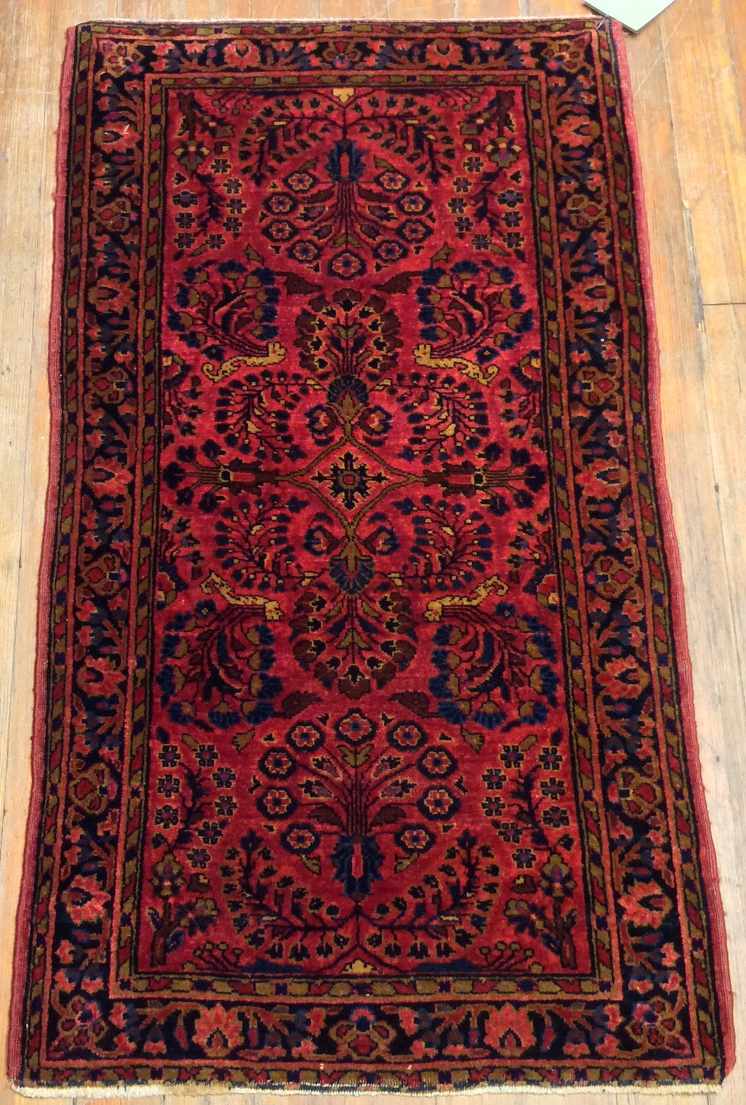 Antique Persian Sarouk Rug.  4' x 2'.2