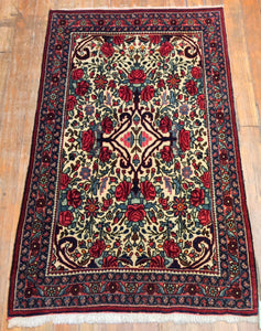 "Antique Persian Fine Bidjar Rug.  4.3"" x 2'.6"""