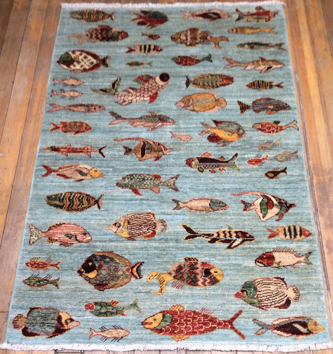 Fish Arts and Crafts Rug. 5' x 3'.6