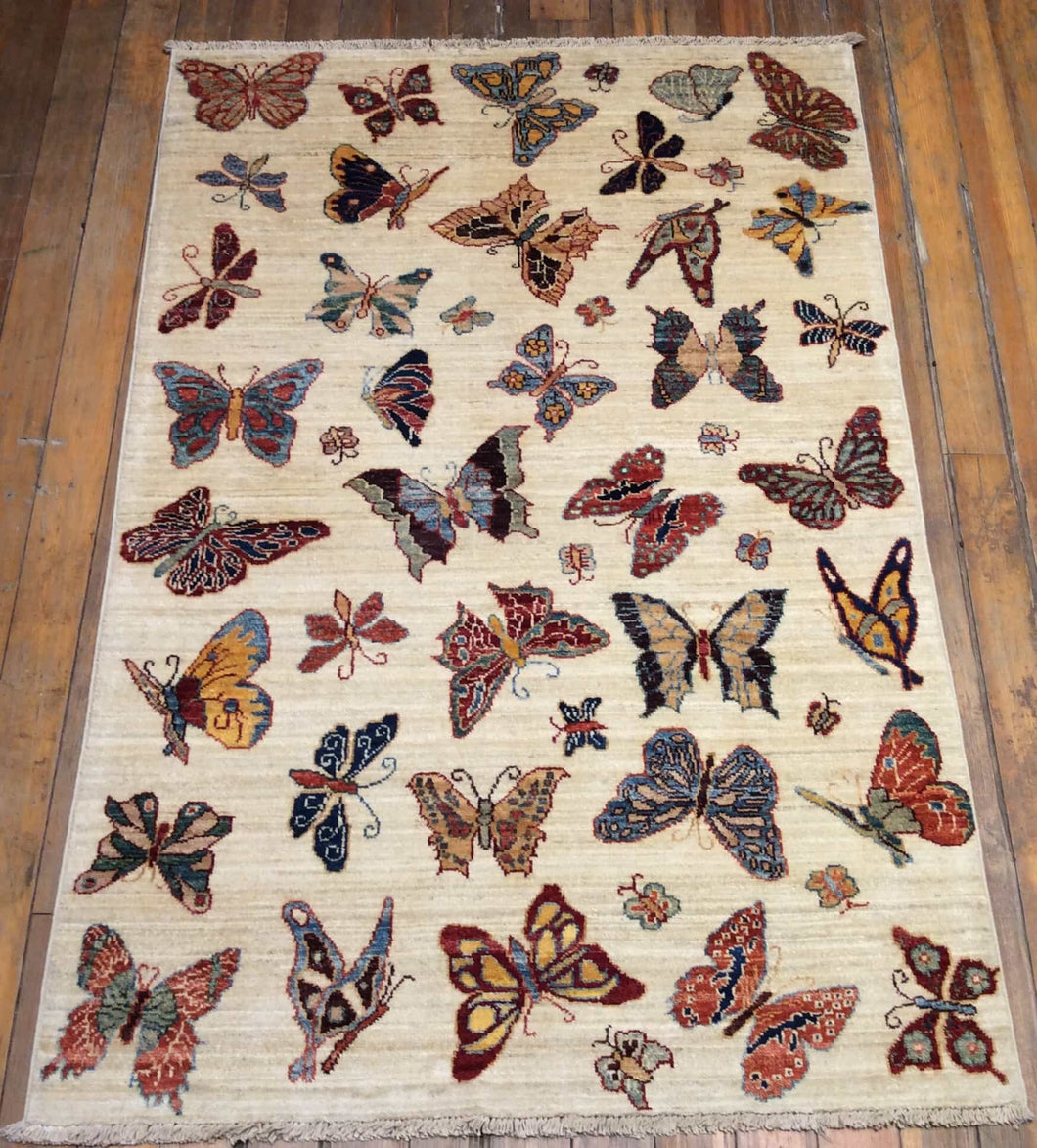 Butterfly Art and Crafts Rug.  5' x 3'.3