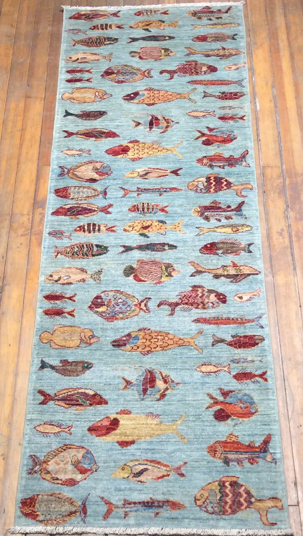 Fish Arts and Crafts Rug. 8' x 2'.8