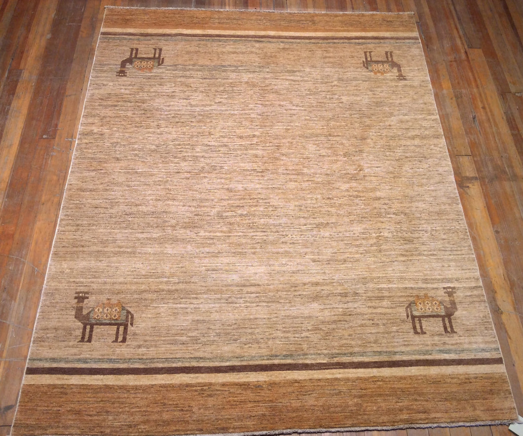Arts and Crafts Natural Dyes / Hand Spun Wool Rug  8'.4