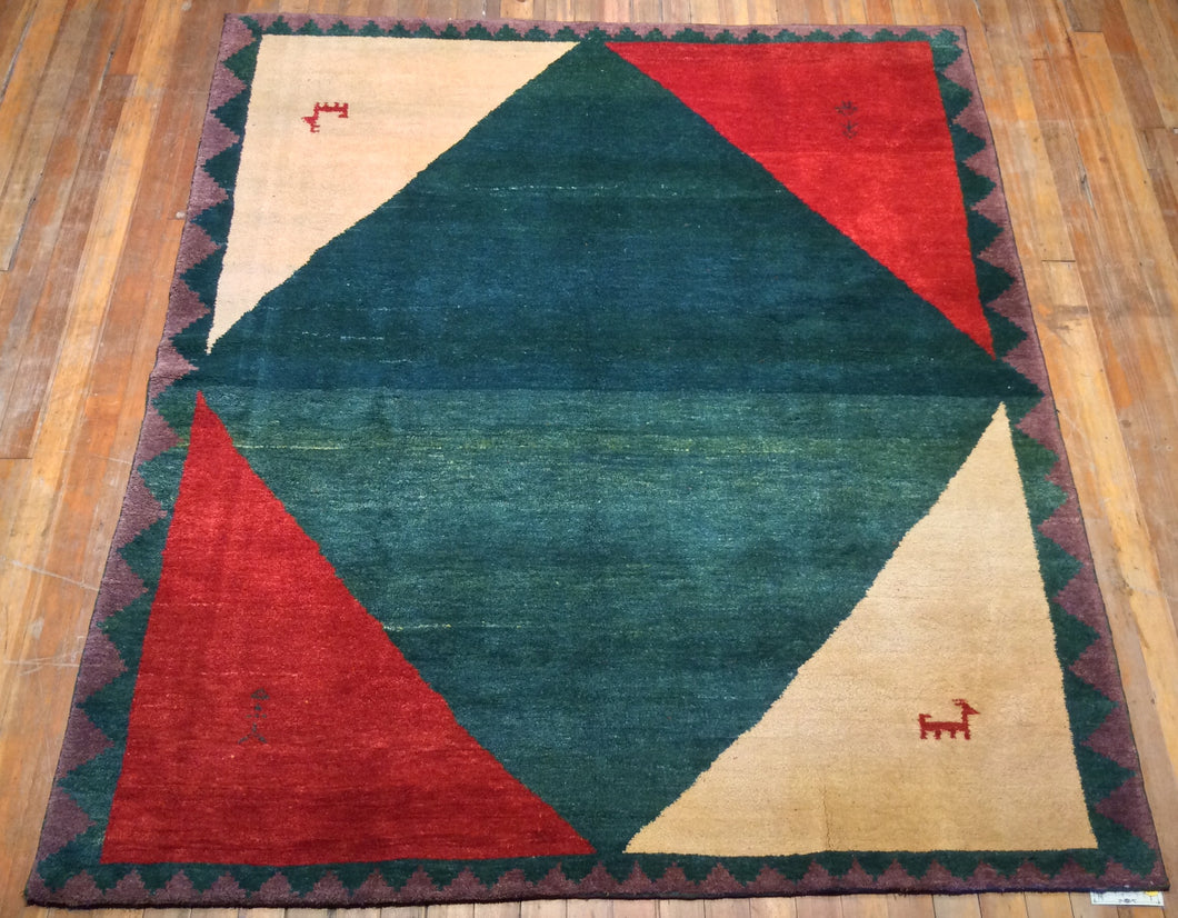 Tribal Gabbeh Turkish Rug.  7'.8