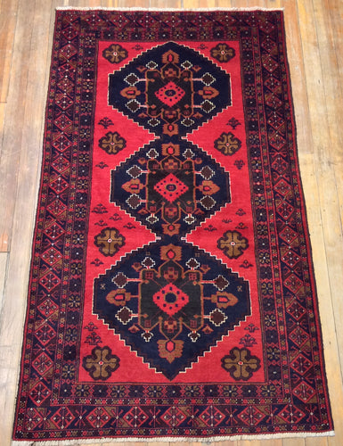 Saveh Tribal Rug.  3'10