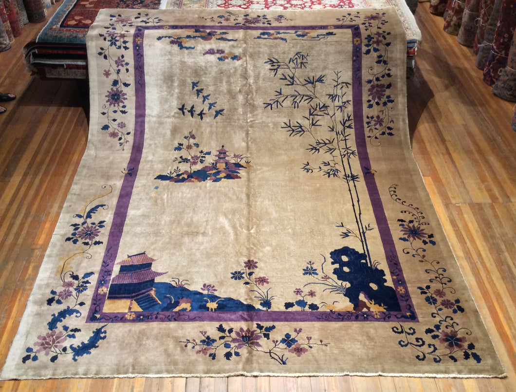 Antique Chinese Art Deco Rug. 13'.6